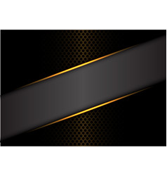 abstract gray banner gold line on dark metal vector image