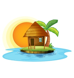 An island with a small hut vector image