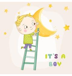 Baby boy climbing on a moon - shower vector