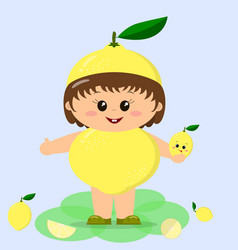 baby in a lemon costume vector image