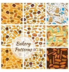 Bakery patterns set Bread and baking kitchenware vector image