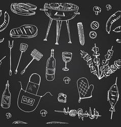 bbq party set menu doodle icons vector image