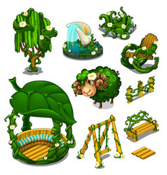 Big set of scenery for location plants style vector