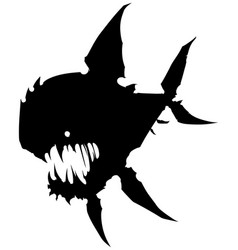 black graphic angry silhouette monster fish vector image
