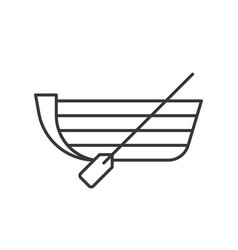 Boat with paddle outline icon on white background vector