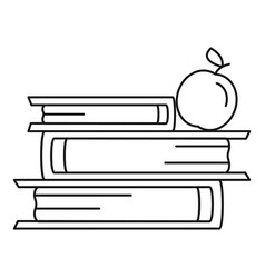 books and apple icon outline style vector image