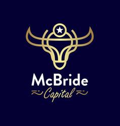 Buffalo head gold outline logo design vector