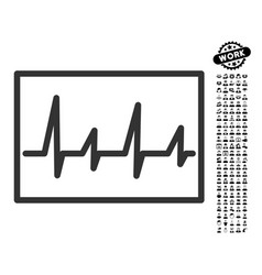Cardiogram icon with people bonus vector