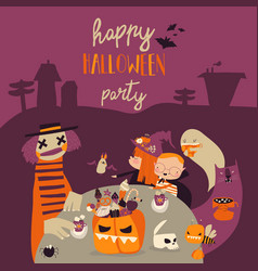 cartoon crazy halloween party with kids and vector image