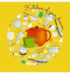 Cartoon kitchen utensil set collection of orange vector image