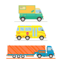 Cartoon transport set postal truck school bus vector