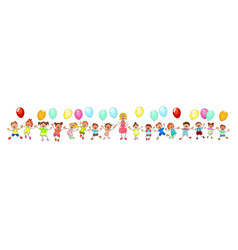 children on a walk with balloons vector image