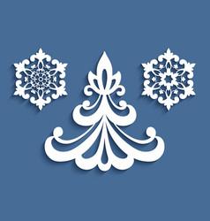 christmas ornaments cutout paper decor set vector image