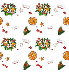Christmas seamless background with sweets vector