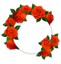 circle frame with red roses vector image