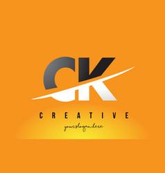 Ck c k letter modern logo design with yellow vector