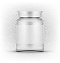 Clear glass medicine drugs bottle with snap lid vector