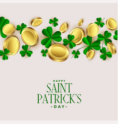 clover leaves with golden coins st patricks vector image