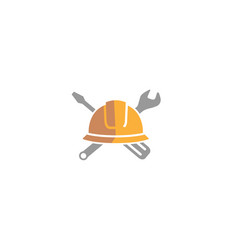 creative helmet engineer wrench logo design vector image