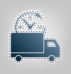 delivery sign blue icon with vector image