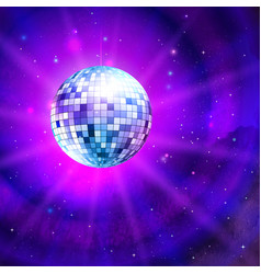 Disco ball on outer space background vector