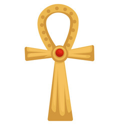 Egyptian gold coptic cross or ankh with ruby stone vector