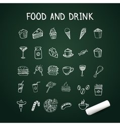 Food and drink doodles Icons on chalkboard with vector