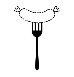 fork with delicious sausage vector image