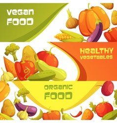 Fresh Organic Vegetables Horizontal Banners Set vector