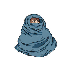 Girl in warm cozy blanket hand-drawn vector