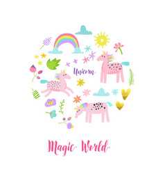 Greeting card with cute magic unicorns rainbow vector