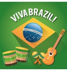 Guitar drum and maraca of brazil design vector