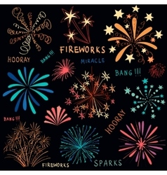Hand drawn colorful fireworks set vector