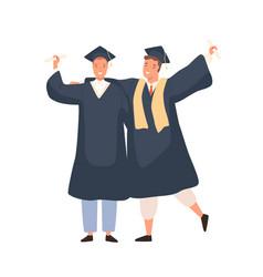 Happy cartoon male graduated students having vector