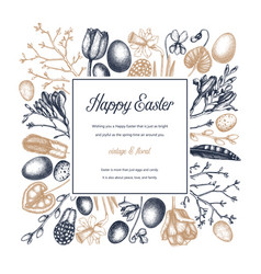happy easter day design spring banner greeting vector image
