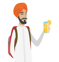 Hindu traveler man drinking cocktail vector