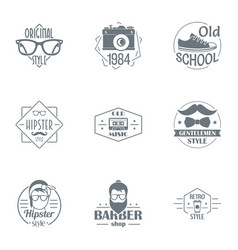 Hipster planet logo set simple style vector