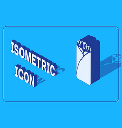 Isometric burrito icon isolated on blue background vector