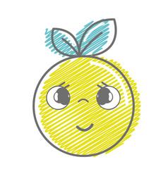 Kawaii nice shy orange fruit vector