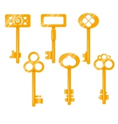Keys gold cartoon Isolated on vector