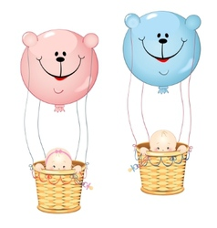 Kids on the balloon vector image