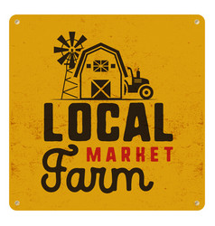 Local farm market poster retro design included vector
