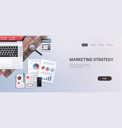 marketing strategy concept workplace desk office vector image