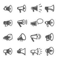 megaphones speakers line and bold black icons set vector image