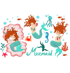 mermaid set three mermaids underwater animals vector image