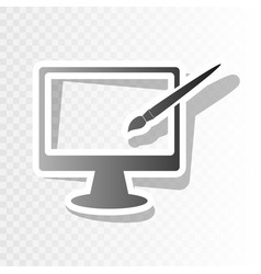 monitor with brush sign new year blackish vector image