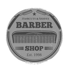 monochrome barber shop vintage label - vector image