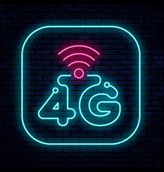 neon sign 4g network vector image