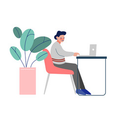 office worker sitting at table and working on vector image