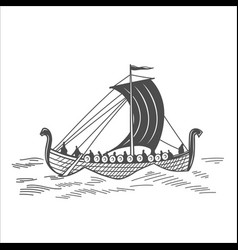 Old boat with warriors vector